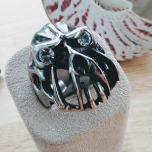 Jewelry - Large Stainless Steel Ring with a Scary Face